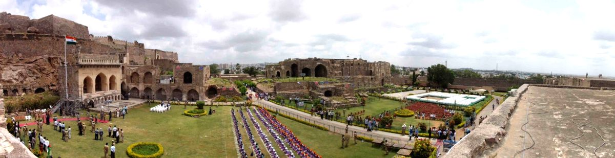 A panoramic view of the Golkonda Fort