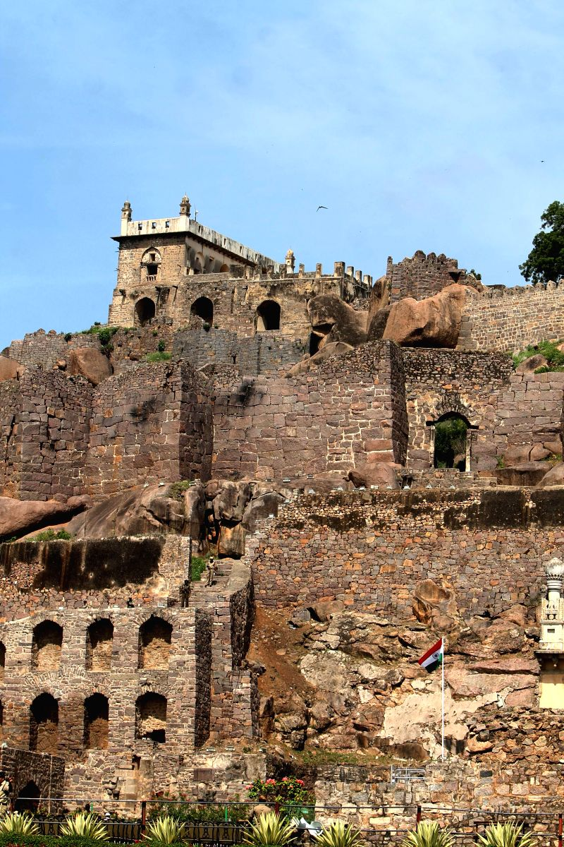 Impressive facade of the Golconda Fort