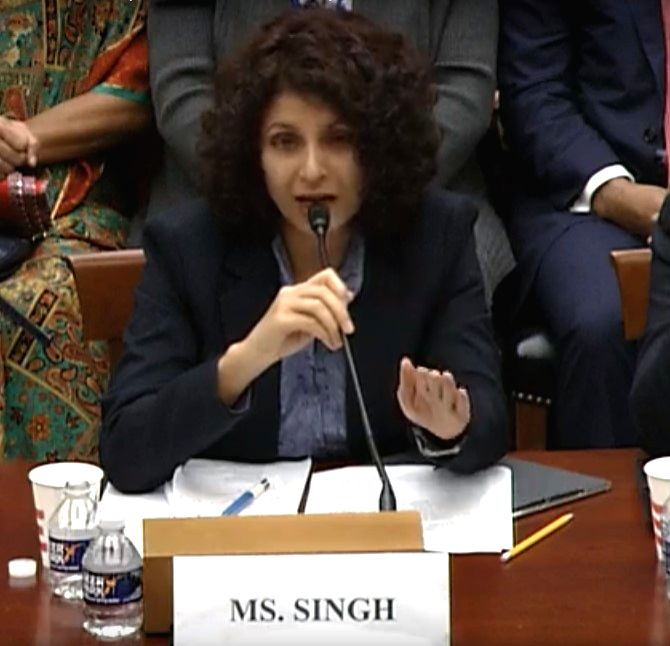 Indian journalist Aarti Tikoo Singh testified on Tuesday, October 22, 2019, before the House of Representatives Subcommittee on Asia and Pacific about the situation in Kashmir. (Photo: House Subcommittee)
