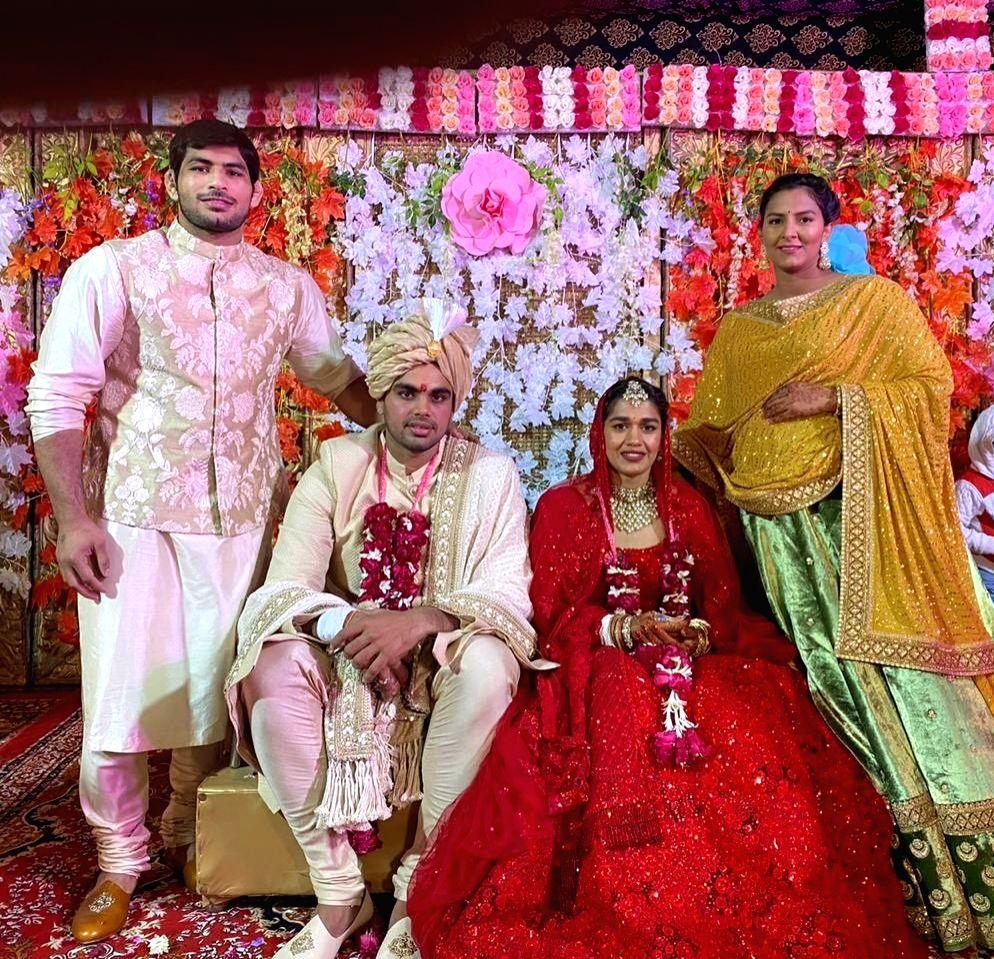 Indian woman wrestler Babita Phogat with her husband Vivek Suhag.