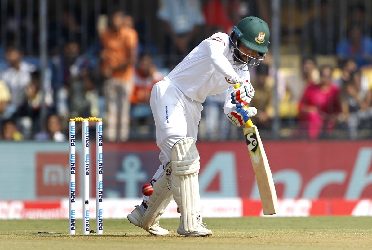 Indore: Bangladesh captain Mominul Haque in action on Day 1 of the 1st Test match between India and Bangladesh at Holkar Cricket Stadium in Indore, Madhya Pradesh on Nov 14, 2019. (Photo: Surjeet Yadav/IANS)