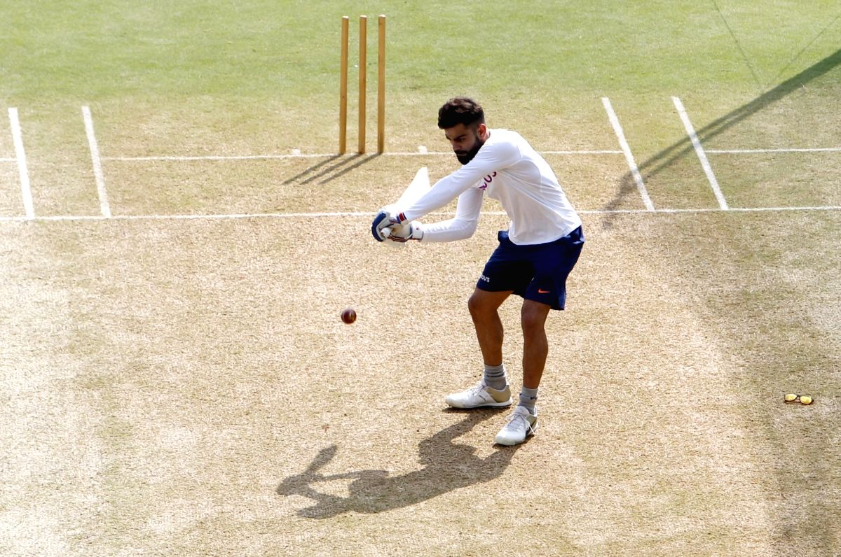 Indian skipper Virat Kohli during a practice session ahead of the 1st Test match against Bangladesh, at Holkar Cricket Stadium in Indore, Madhya Pradesh