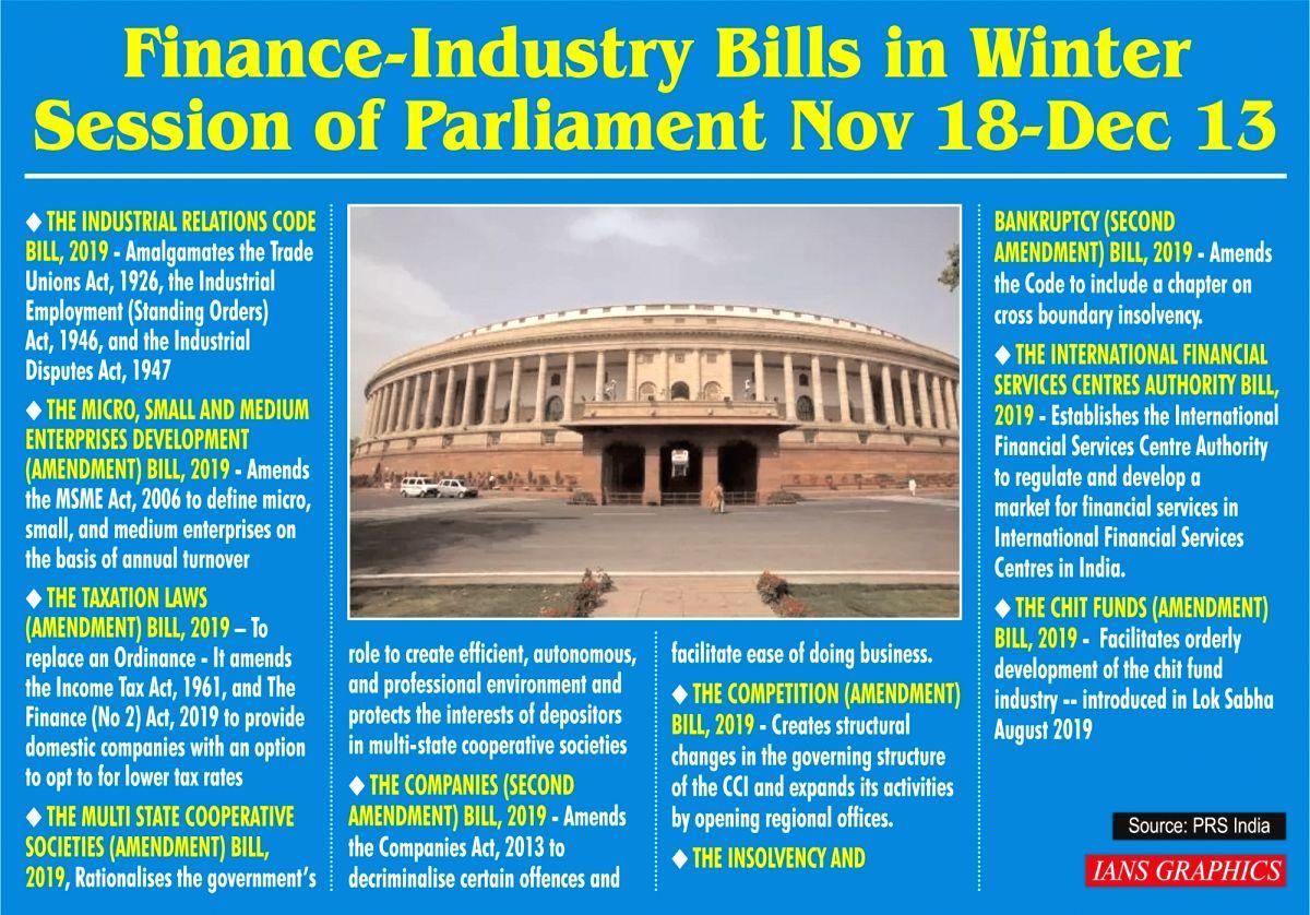 Infographics: Finance-Industry Bills in Winter Session of Parliament Nov 18-Dec 13. (IANS Infographics)