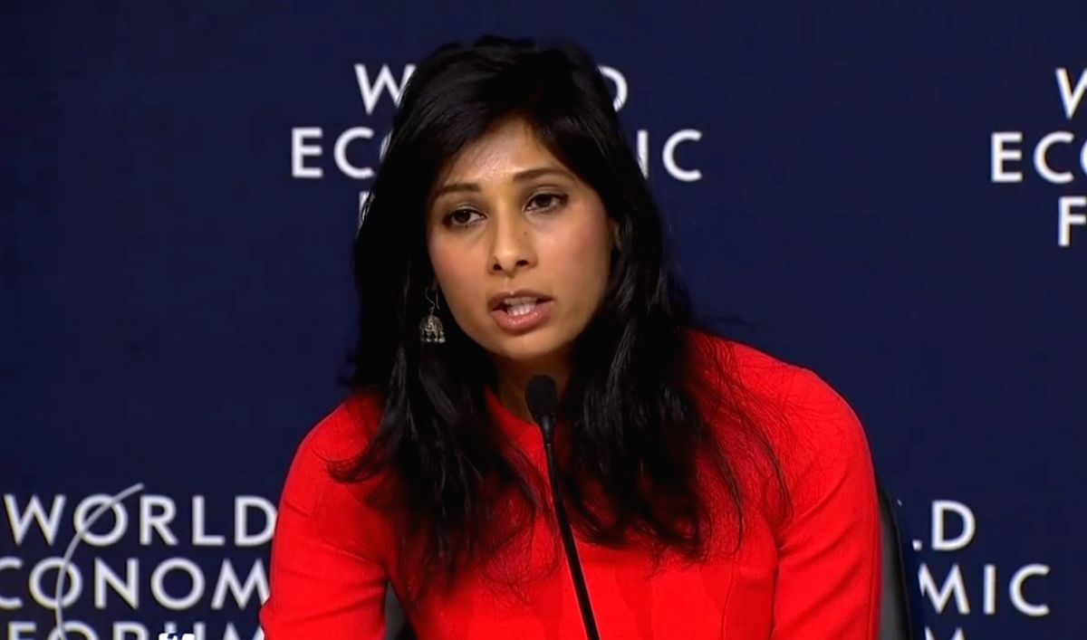 International Monetary Fund's Chief Economist Gita Gopinath speaks at a news conference in Davos, Switzerland, on Monday, January 20, 2020. (Photo: IMF/IANS)