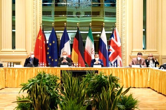 Iran: Photo taken on April 9, 2021 shows a meeting of the Joint Commission of the Joint Comprehensive Plan of Action (JCPOA) in Vienna, Austria. (EU Delegation in Vienna/Handout via Xinhua/IANS)