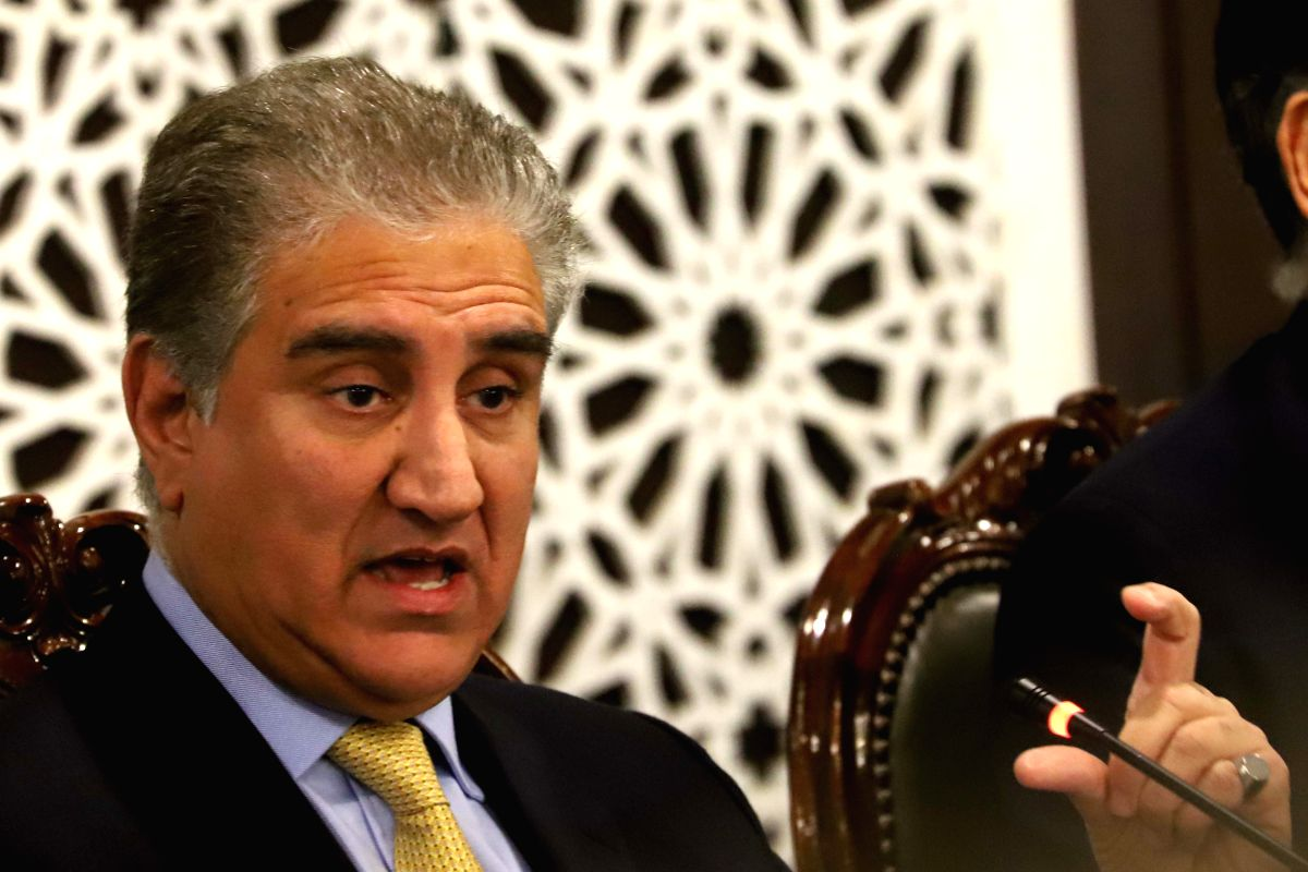 ISLAMABAD, Feb. 26, 2019 (Xinhua) -- Pakistan Foreign Minister Shah Mahmood Qureshi speaks during a press conference at the Foreign Affairs Ministry in Islamabad, capital of Pakistan, on Feb. 26, 2019, after Indian warplanes violated the Line of Cont