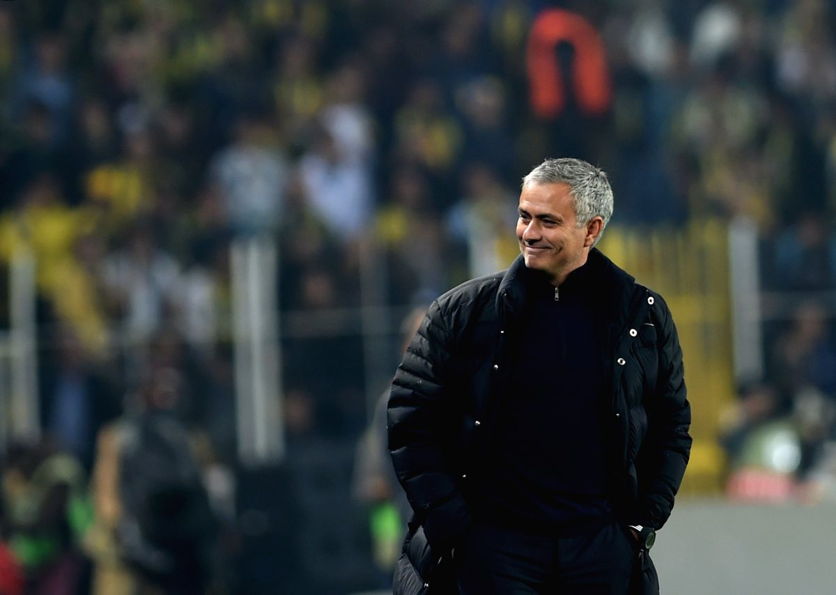 ISTANBUL, Nov. 4, 2016 (Xinhua) -- Manchester United coach Jose Mourinho reacts during the UEFA Europa League Group A match between Fenerbahce and Manchester United in Istanbul, Turkey, Nov. 3, 2016. Fenerbahce won 2-1. (Xinhua/He Canling/IANS)