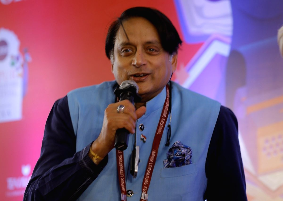 Jaipur: Congress MP Shashi Tharoor speaks at the session 'Shashi on Shashi' on Day 2 of the 13th annual edition of the Zee Jaipur Literature Festival at Diggi Palace, on Jan 24, 2020.