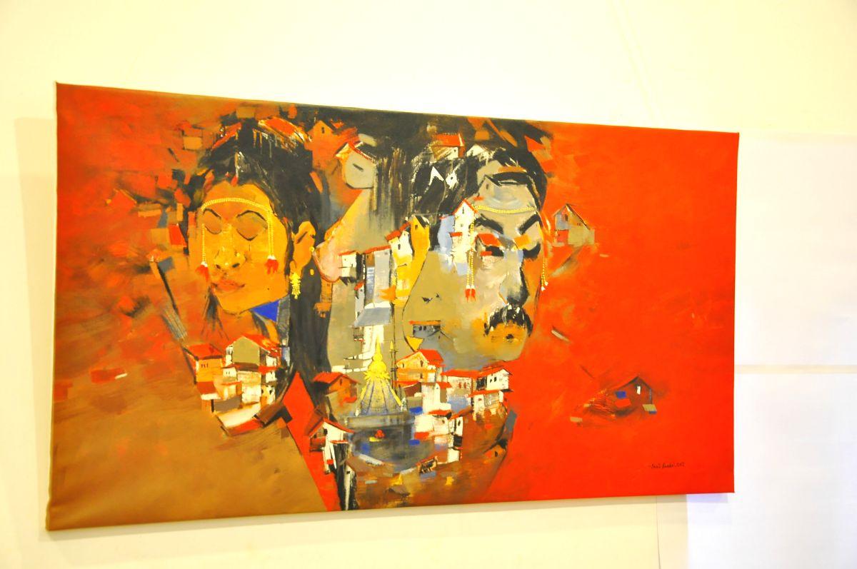 Jaipur, Rajasthan, India, Wednesday, 26 Dec, 2012, Exhibition of Sculptures, Painting and Drawing at Surekh and Sukrati Art gallery in Jawahar Kala Kendra, Jaipur. ImagesMart.co/Pankaj Sharma