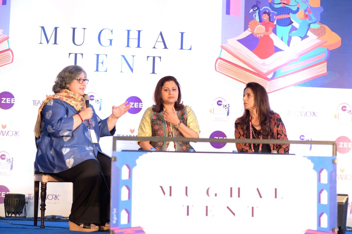 Jaipur: Senior journalist and author Kaveree Bamzai and actor Vani Tripathi in a conversation with Columnist Shobhaa De at the inaugural session of the 13th annual edition of the Zee Jaipur Literature Festival at Diggi Palace, on Jan 23, 2020. (Photo