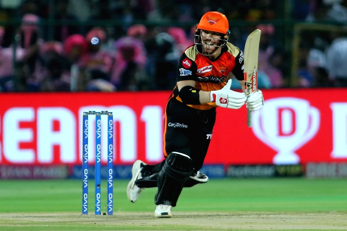 Jaipur: Sunrisers Hyderabad's David Warner in action during the 45th match of IPL 2019 between Rajasthan Royals and Sunrisers Hyderabad at Sawai Mansingh Stadium in Jaipur, on April 27, 2019. (Photo: Surjeet YadavIANS)