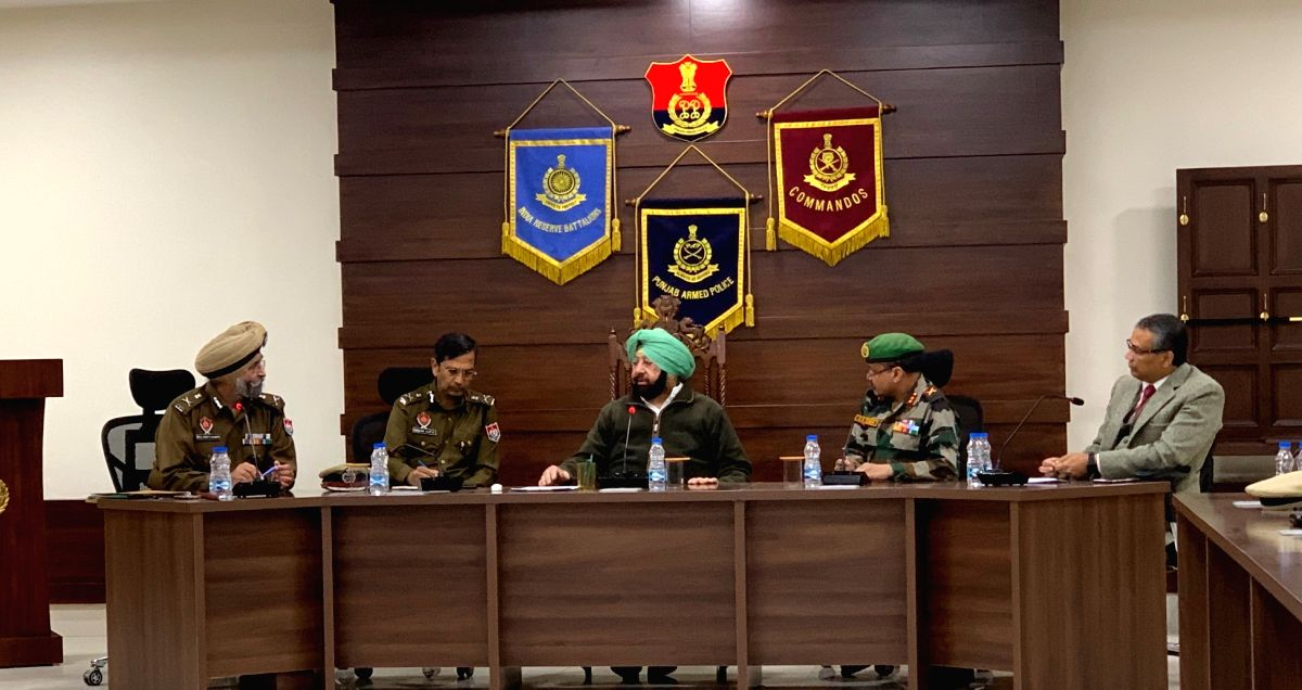 Jalandhar: Punjab Chief Minister Captain Amarinder Singh reviews law and order situation with army, paramilitary and police officials in Jalandhar on Feb 27, 2019.