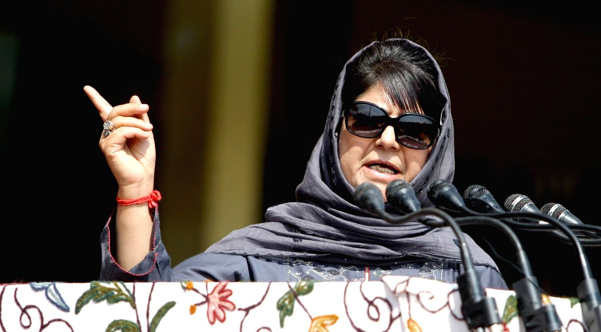 Jammu and Kashmir Chief Minister Mehbooba Mufti during Independence Day celebrations in Srinagar, on Aug 15, 2017.