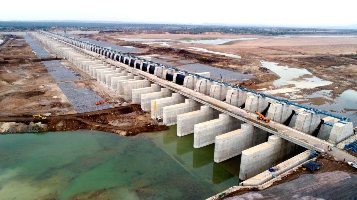 Jayashankar Bhupalpally: A view of the Medigadda barrage where world's largest multi-stage, multi-purpose lift irrigation project Kaleshwaram was inaugurated by Telangana Chief Minister K. Chandrashekhar Rao, in Jayashankar Bhupalpally district (near