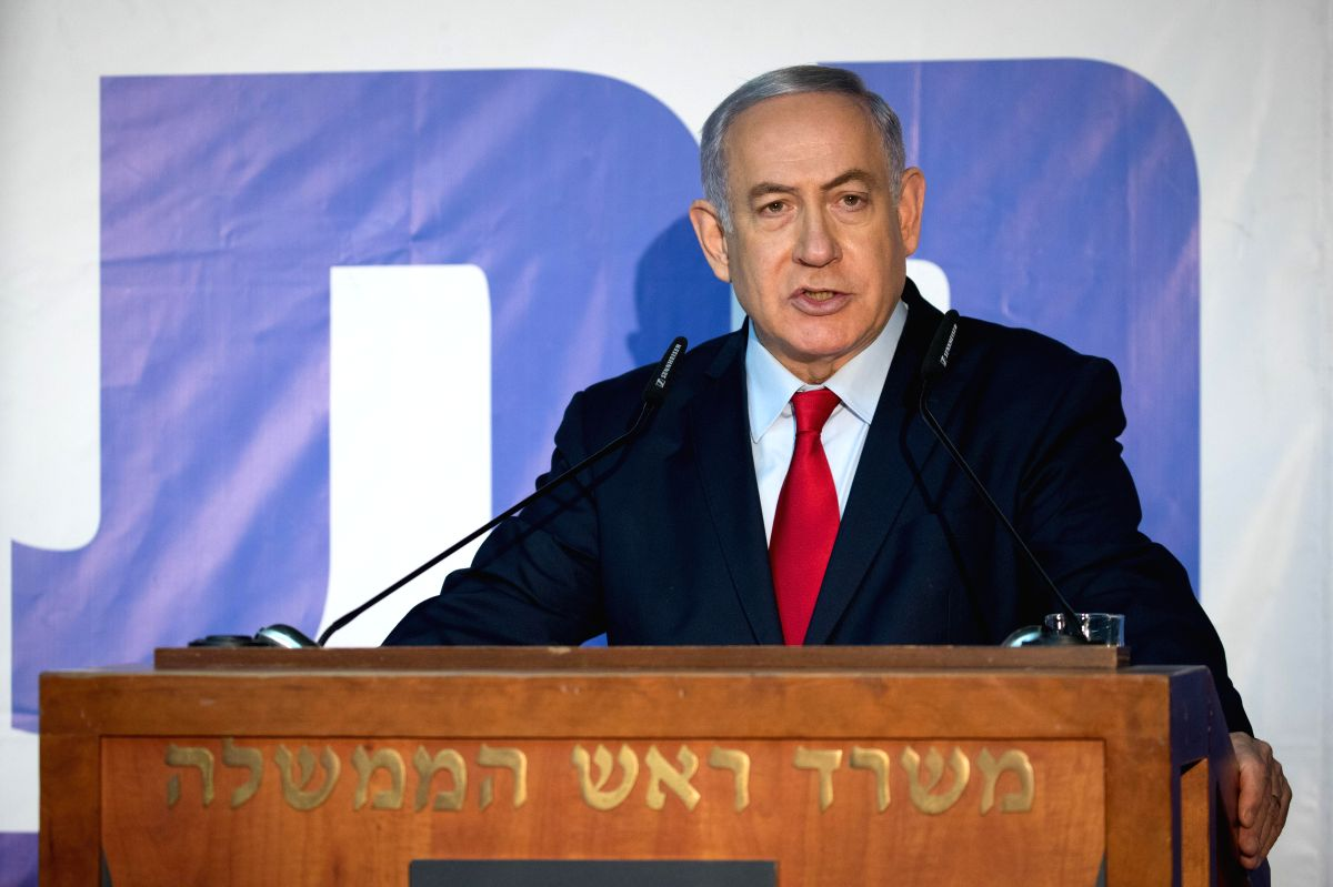 JERUSALEM, March 21, 2019 (Xinhua) -- Israeli Prime Minister Benjamin Netanyahu delivers a statement at his residence in Jerusalem on March 20, 2019. Netanyahu is seeking to be re-elected for a fifth term in the April 9 elections but he faces a tough