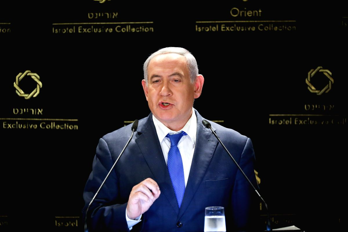 JERUSALEM, May 30, 2019 (Xinhua) -- Israeli Prime Minister Benjamin Netanyahu delivers a statement to the press in Jerusalem, on May 30, 2019. Benjamin Netanyahu on Thursday met with U.S. President Donald Trump's Mideast advisers in Jerusalem to disc