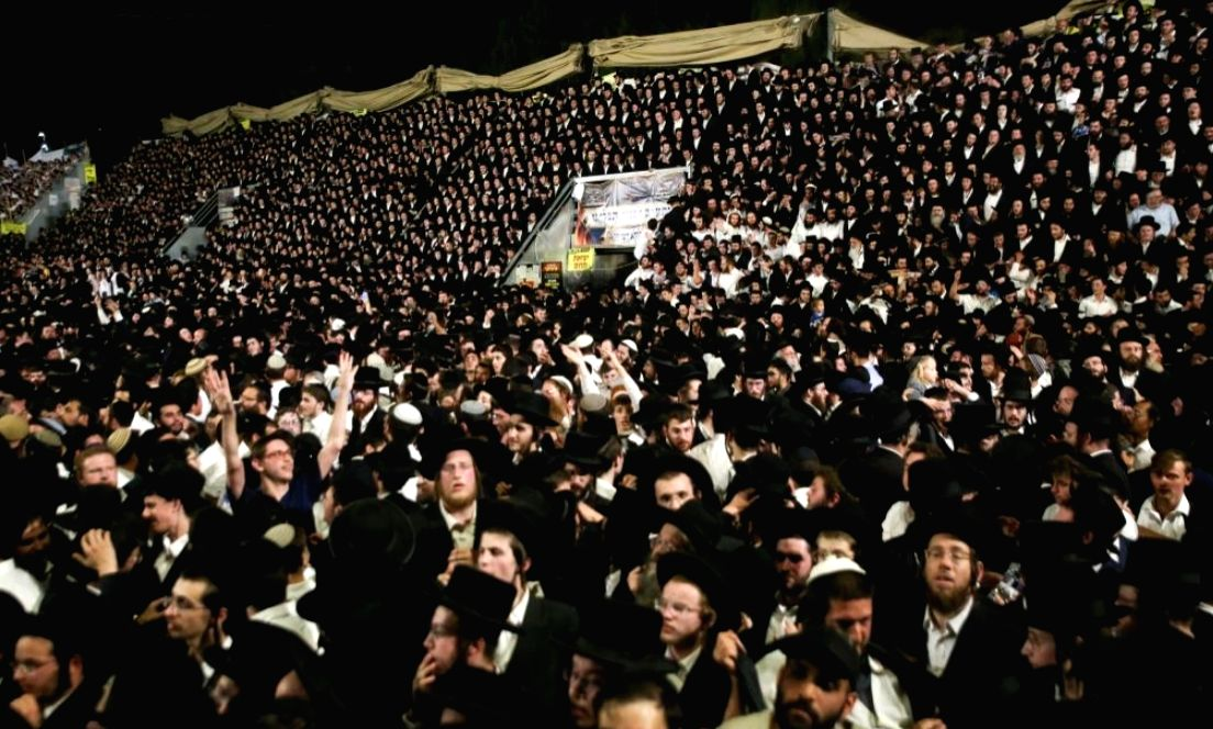 Jerusalem: People gather and celebrate the Jewish holiday of Lag BaOmer on Mount Meron, Israel, April 29, 2021. At least 44 people were killed and 103 injured in a stampede after midnight Thursday at an Israeli festival attended by tens of thousands