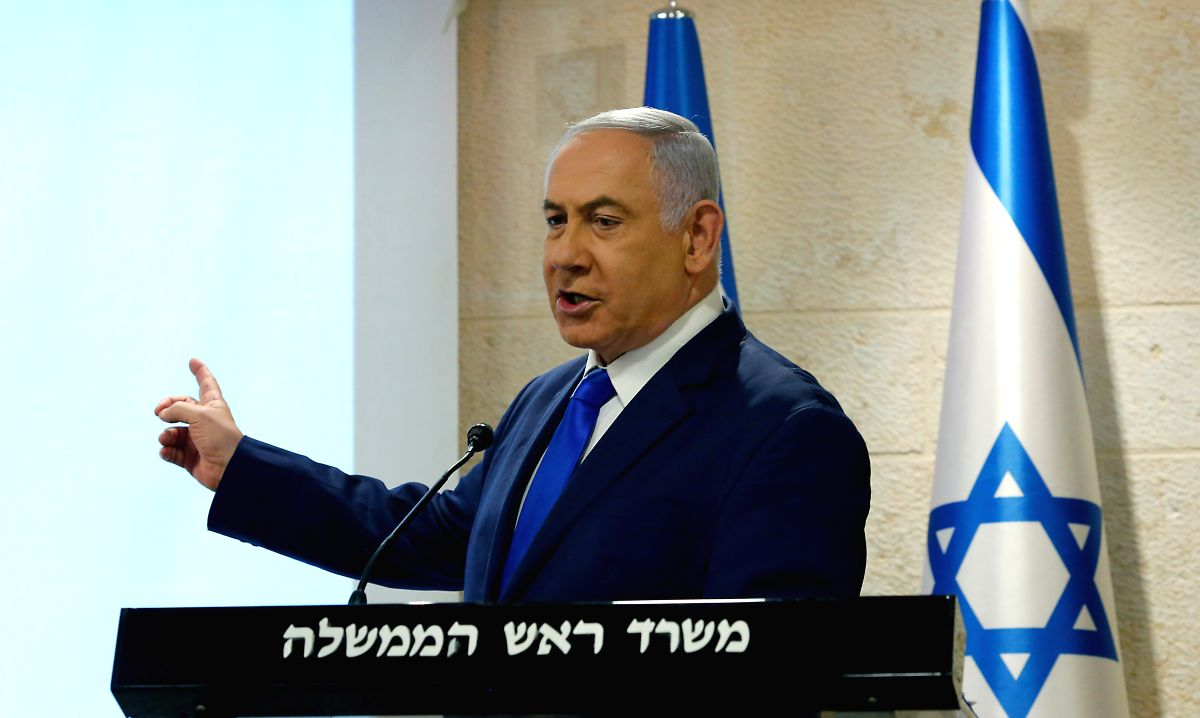JERUSALEM, Sept. 9, 2019 (Xinhua) -- Israeli Prime Minister Benjamin Netanyahu delivers a statement on Iran's nuclear weapons development site in Jerusalem, on Sept. 9, 2019. Israeli Prime Minister Benjamin Netanyahu said on Monday that Israel has ex