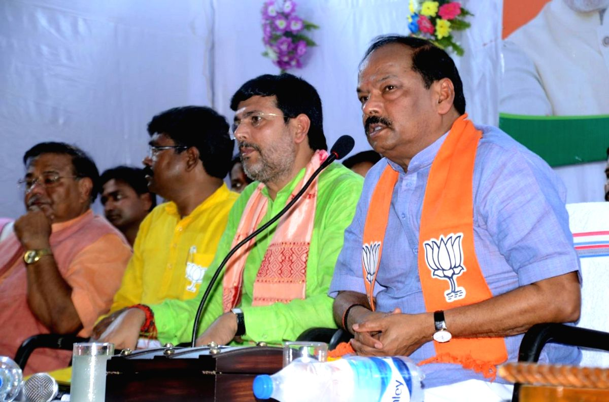 :Jharkhand Chief Minister Raghubar Das addresses at an election rally ahead of bypolls to Gomia and Silli (Jharkhand) Assembly seats in Gomia on May 21, 2018. .