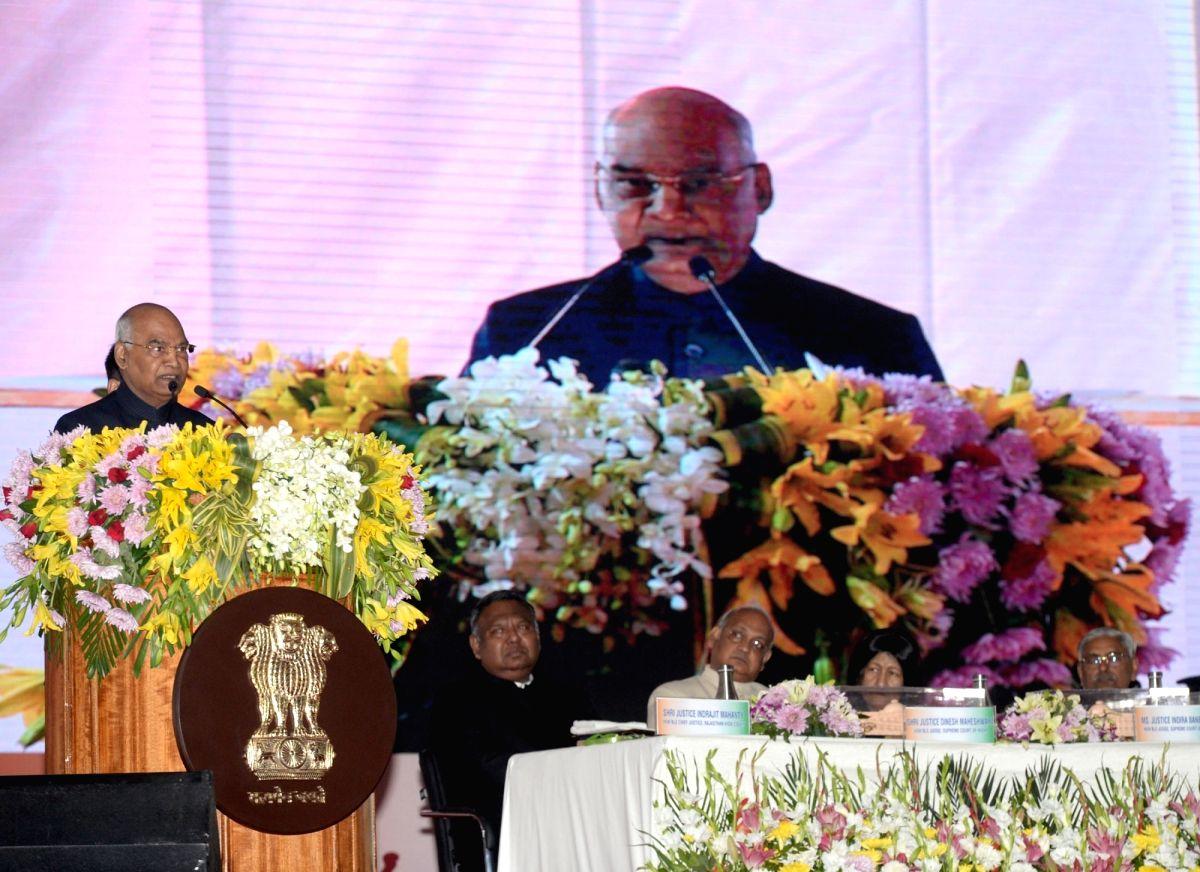 Jodhpur: President Ram Nath Kovind addresses at the inaugural ceremony of the new building of Rajasthan High Court at Jodhpur in Rajasthan on Dec 7, 2019. (Photo: IANS/PIB)