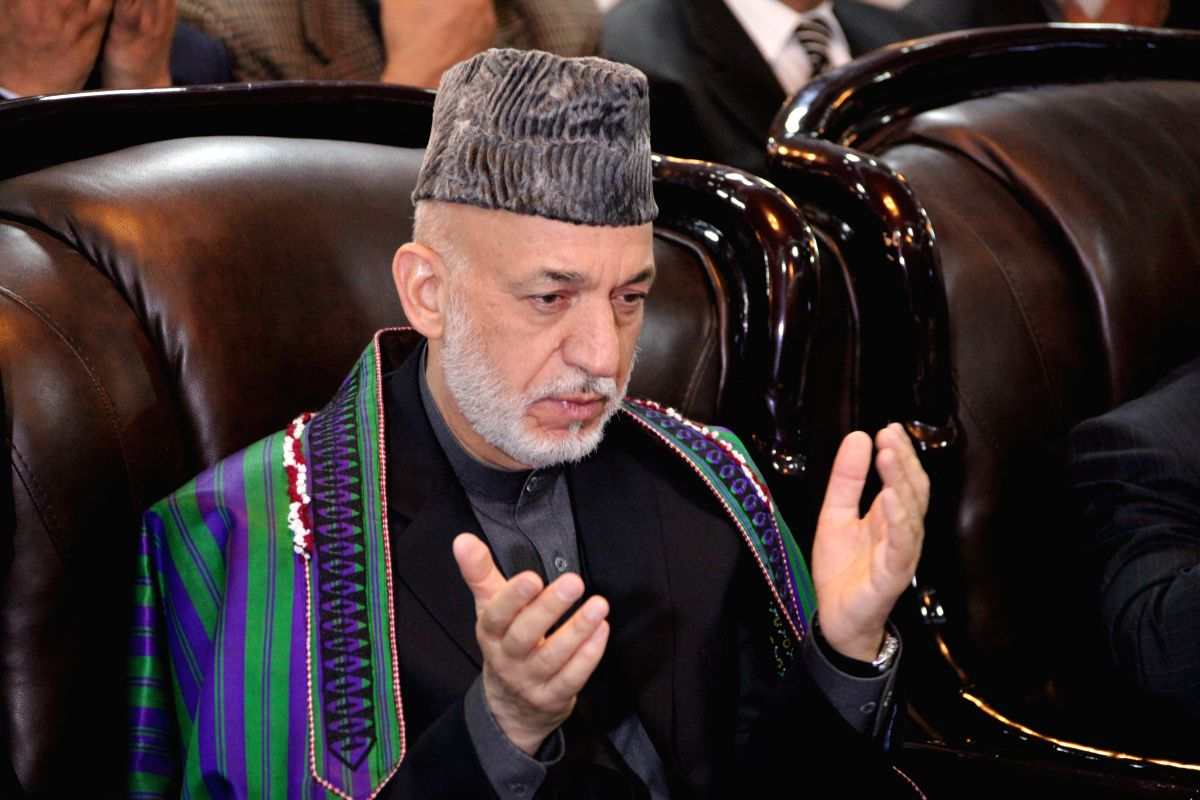 KABUL, April 16, 2017 (Xinhua) -- Former Afghan President Hamid Karzai attends an event in Kabul, Afghanistan, on April, 15, 2017. Former Afghan President Hamid Karzai on Saturday strongly condemned the use of a massive bomb by U.S. military in easte