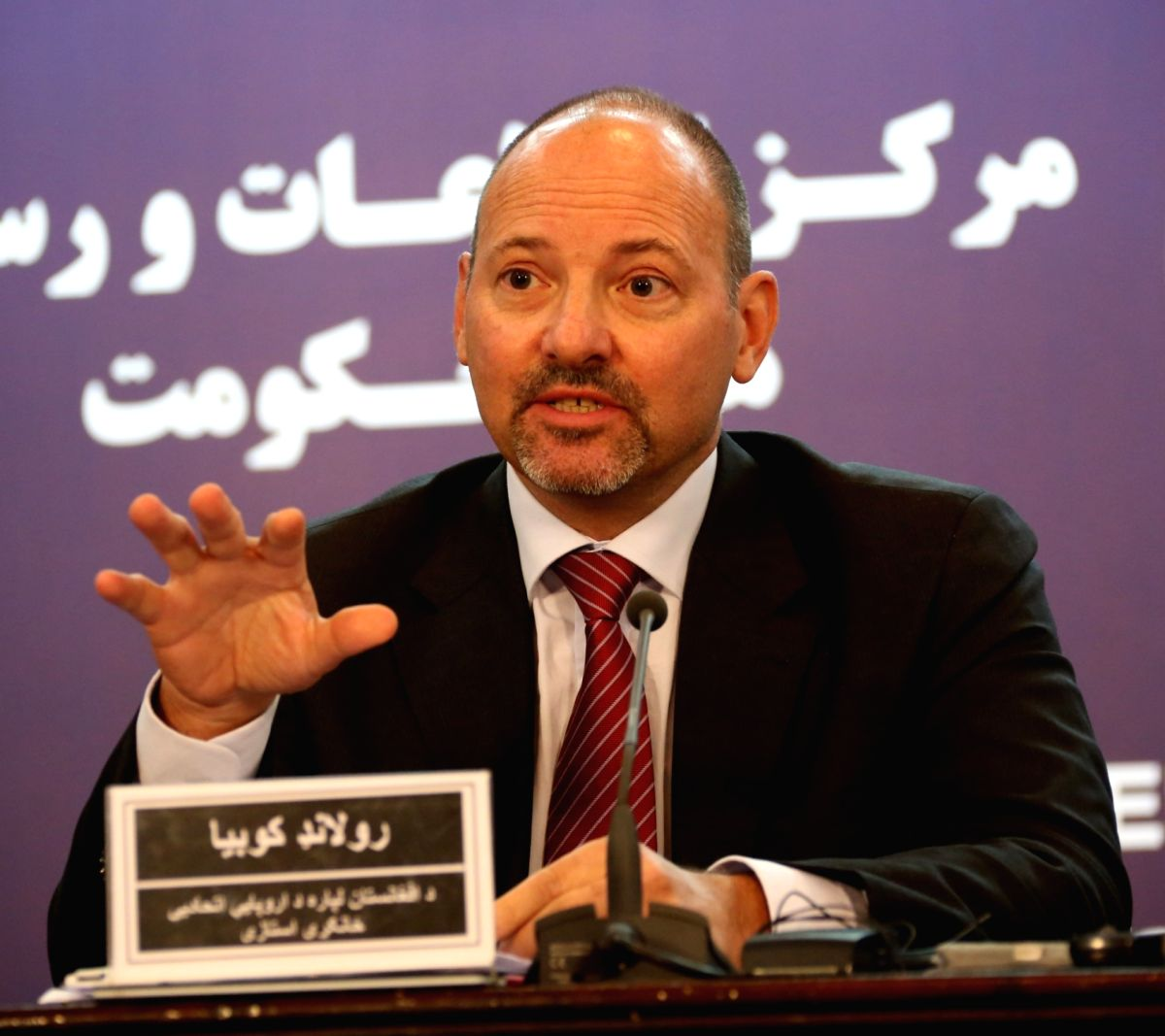 KABUL, Oct. 26, 2017 (Xinhua) -- Roland Kobia, European Union Special Envoy for Afghanistan, speaks during a press conference in Kabul, Afghanistan, Oct.26, 2017. (Xinhua/Rahmat Alizadah/IANS)