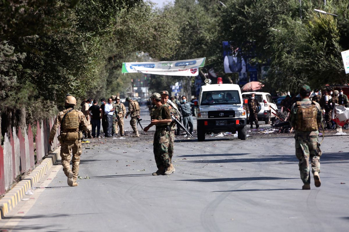 KABUL, Sept. 17, 2019 (Xinhua) -- An ambulance arrives at the scene of a blast in Kabul, capital of Afghanistan, Sept. 17, 2019. An explosion rocked Police District 9 in the Afghan capital of Kabul on Tuesday as the country is to hold a presidential