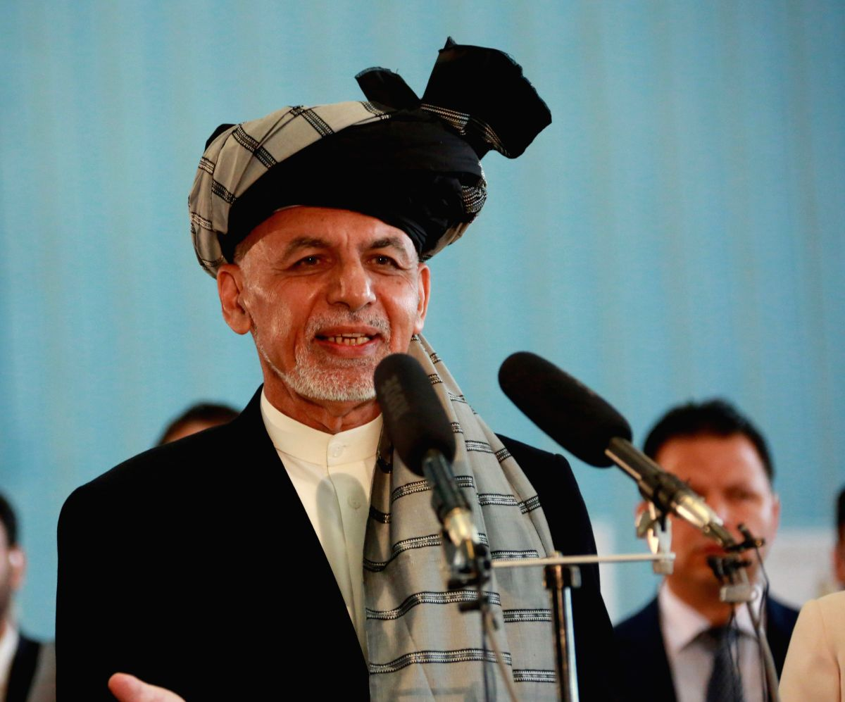 KABUL, Sept. 28, 2019 (Xinhua) -- Afghan President and presidential candidate Mohammad Ashraf Ghani speaks after casting ballot at a polling center during presidential election in Kabul, capital of Afghanistan, Sept. 28, 2019. Afghanistan held presid