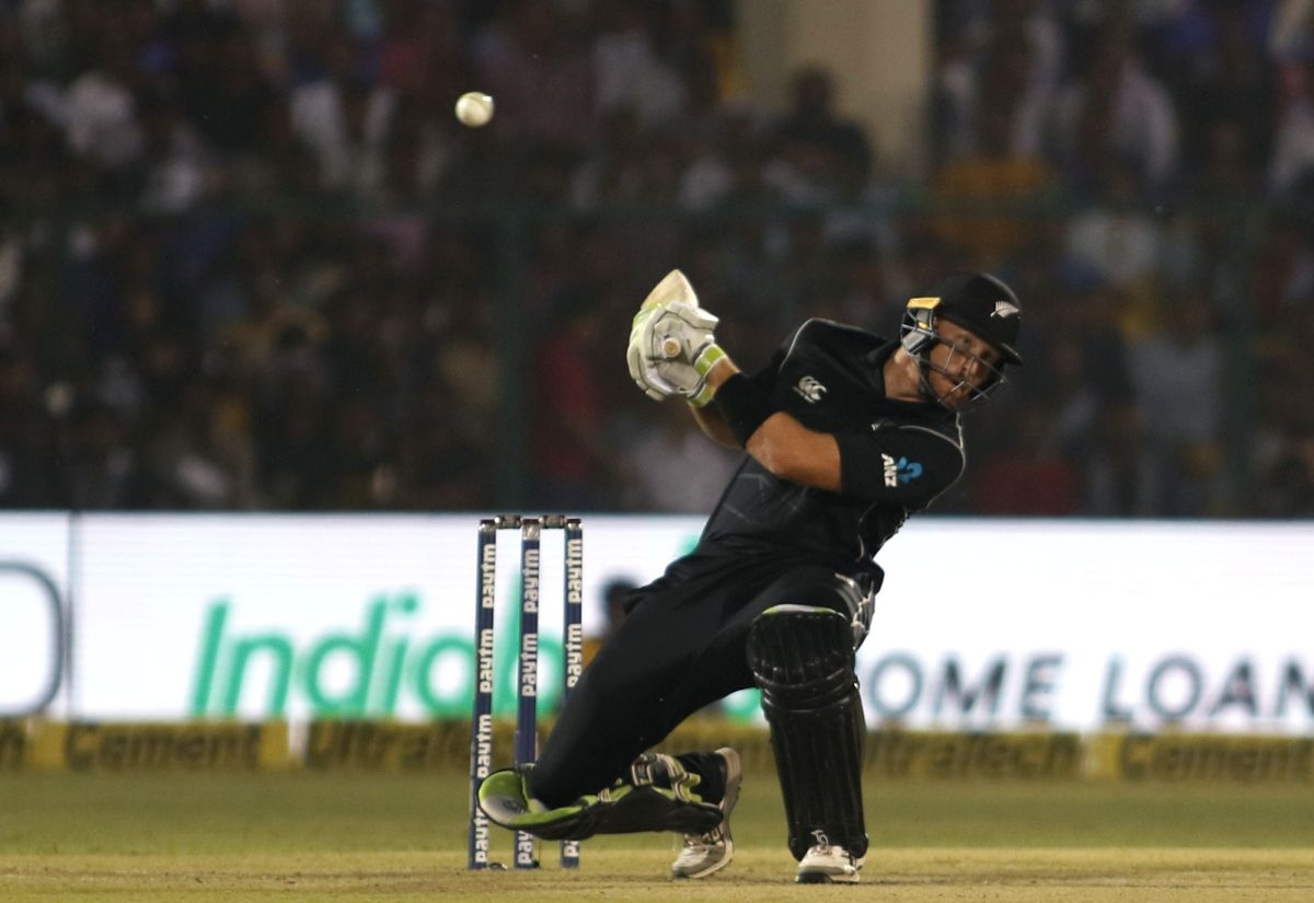 Kanpur: New Zealand's Martin Guptill in action during the third ODI match between India and New Zealand at Green Park Stadium in Kanpur on Oct 29, 2017. (Photo: Surjeet Yadav/IANS)