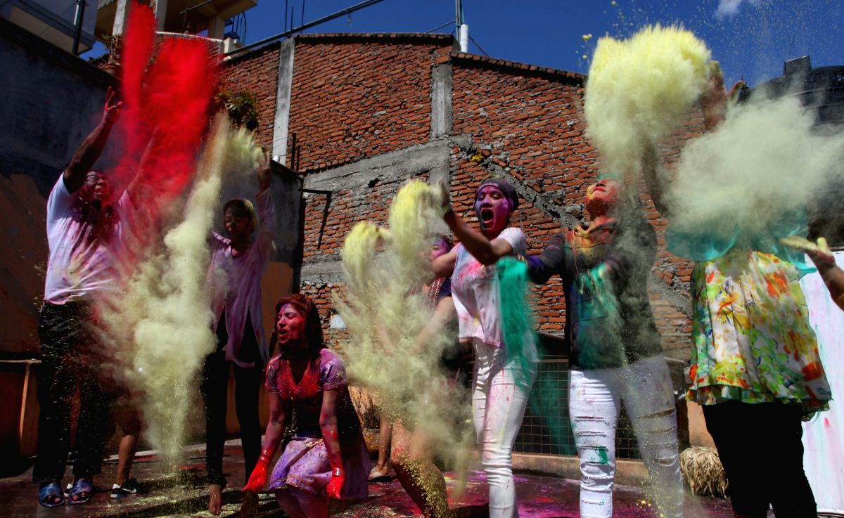 Nepalese people celebrate holi festival in Kathmandu