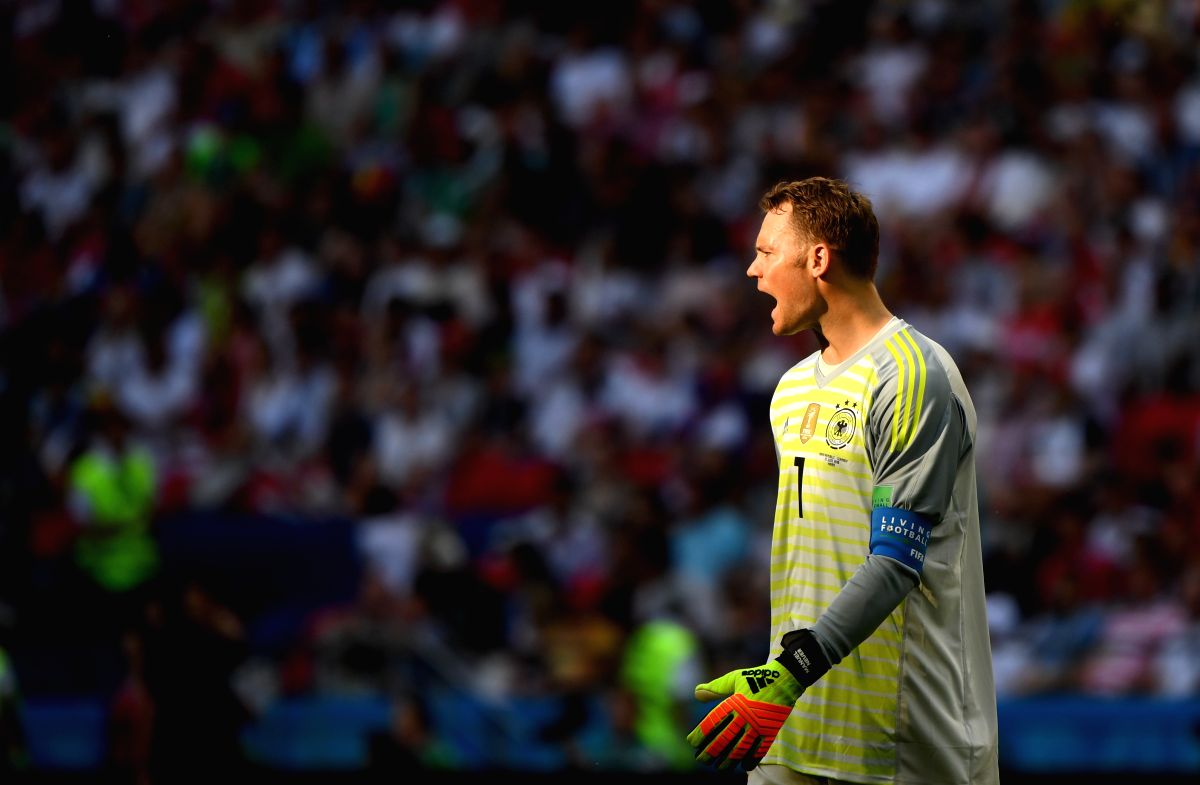 Germany's goalkeeper Manuel Neuer's reaction during match between Germany and South Korea