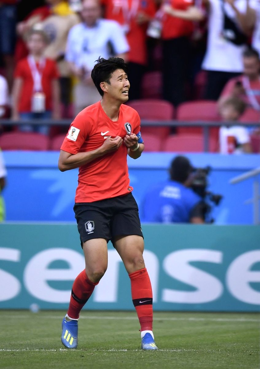 Son Heungmin celebrates his victory in the match between Germany and South Korea