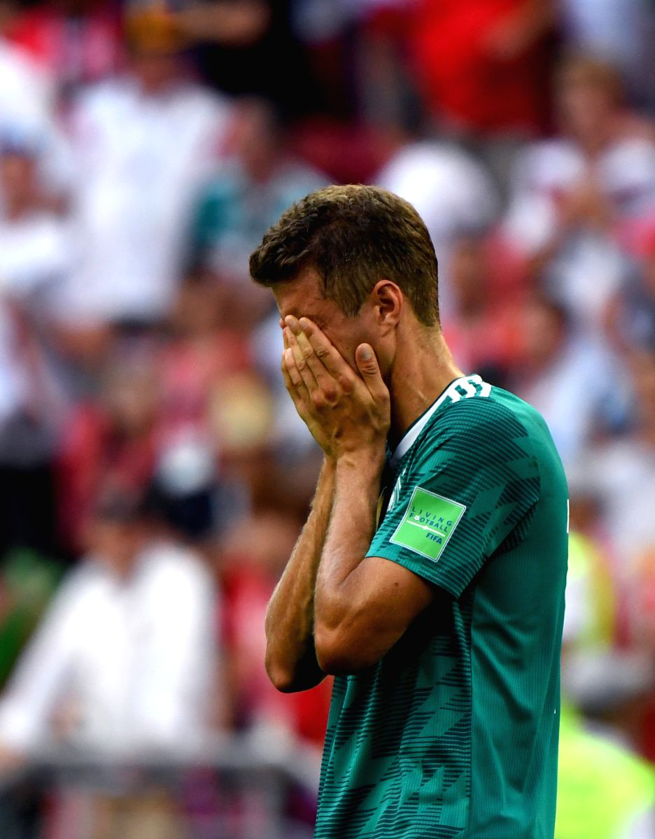 Thomas Mueller of Germany heartbroken after the match against South Korea