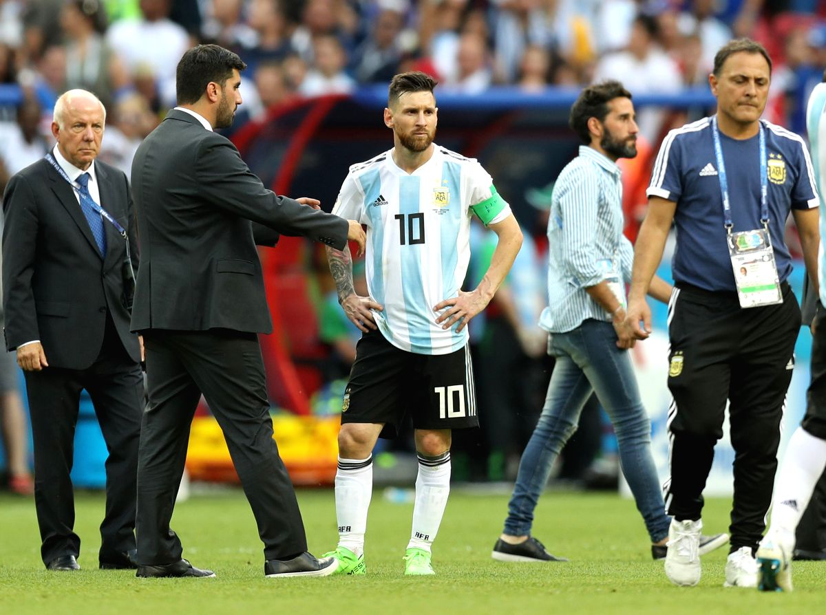 Disappointment written across Messi's face as they lost to France