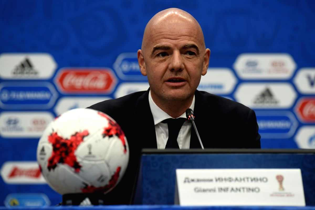KAZAN, Nov. 26, 2016 - President of FIFA Gianni Infantino addresses the media during a press conference before the official draw ceremony of Confederations Cup 2017 in Kazan, Russia, on Nov. 26, 2016.