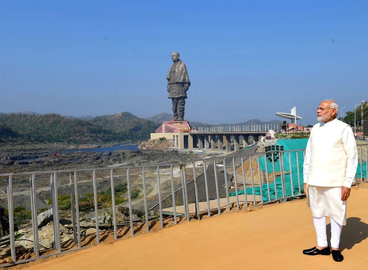 :Kevadiya: Prime Minister Narendra Modi at the inauguration of 'Statue of Unity' on Rashtriya Ekta Diwas - birth anniversary of the country's first Home Minister Sardar Vallabhbhai ...