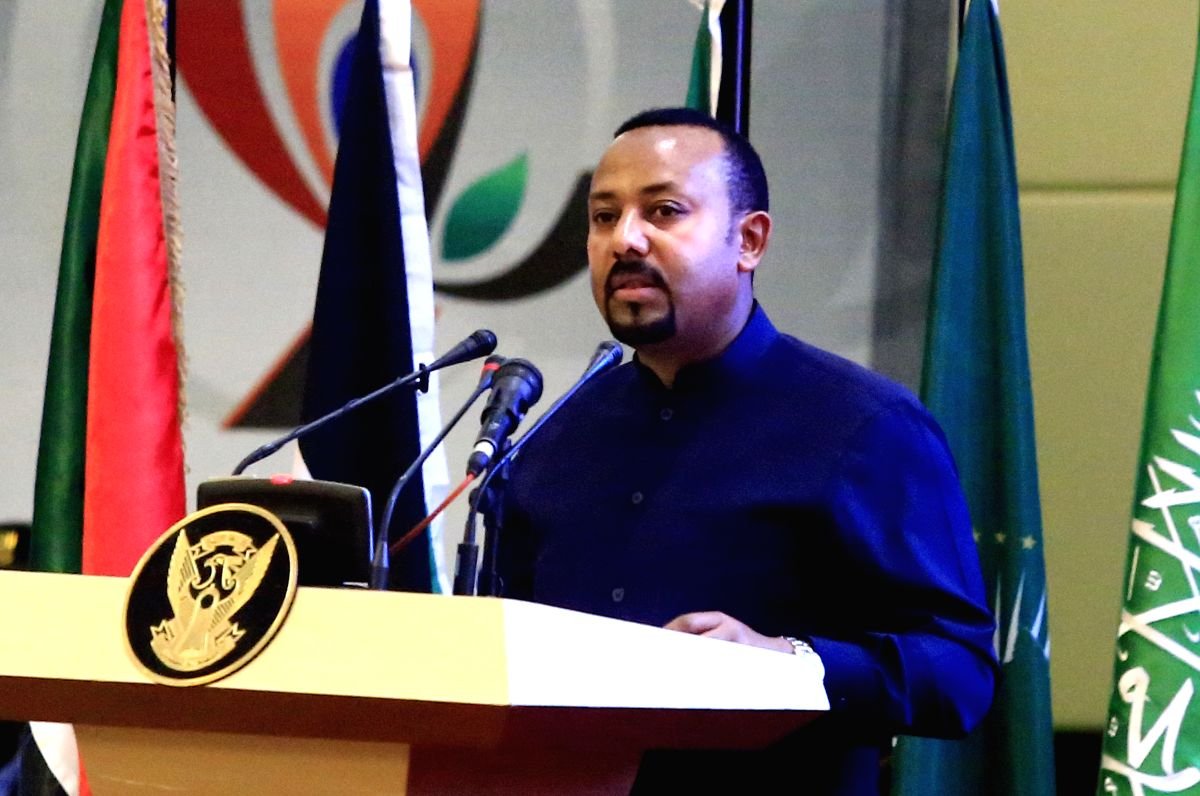 KHARTOUM, Aug. 17, 2019 (Xinhua) -- Ethiopian Prime Minister Abiy Ahmed speaks during the signing ceremony of the political and constitutional declarations in Khartoum, Sudan, on Aug. 17, 2019. Sudan's Transitional Military Council (TMC) and the oppo