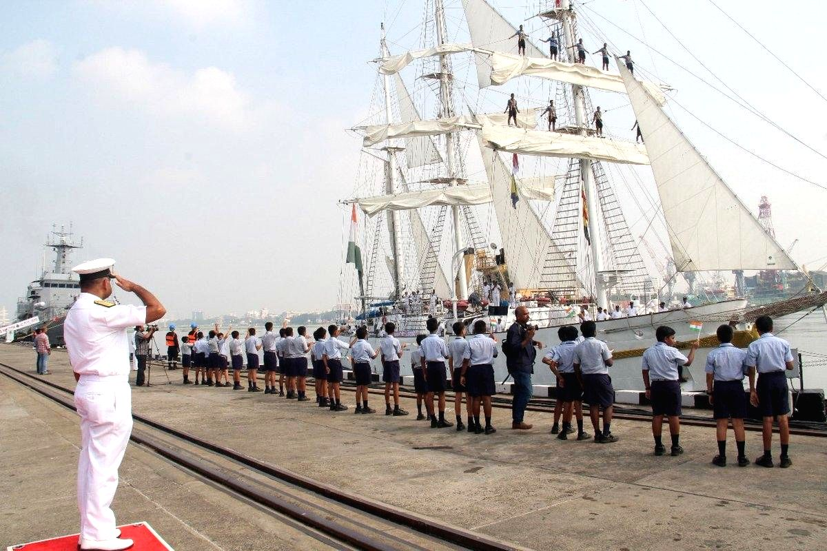 Kochi: The sail training ship of Indian Navy, INS Tarangini, being accorded a grand reception after it completed a seven month long sail across the world, at naval base in Kochi