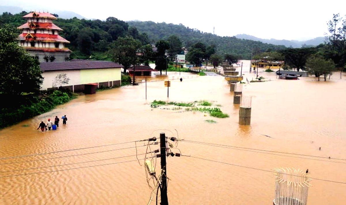 Kodagu: Bhagamandala in Madikeri sumbmerged under flood water in the flood-hit Kodagu district of Karnataka on Aug 5, 2020.