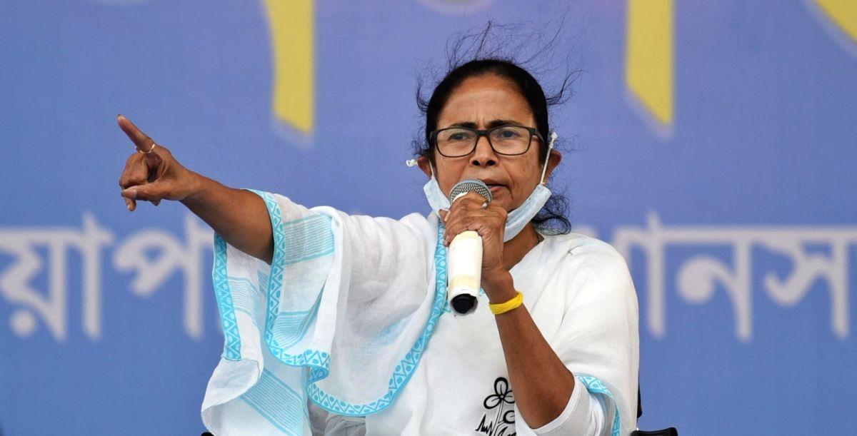 Kolkata: All India Trinamool Congress Suprimo and State Chief minister Mamata Banerjee at a public meeting during election campaign at Palta in North 24 parganas On Friday, 16th April,2021. (Photo:IANS)