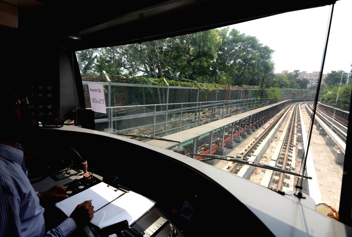 Kolkata: An inside view of the front cabin of Kolkata metro rake during the first underground trial run for East-West Metro corridor between Sector V and Phoolbagan metro stations in Kolkata, on May 31, 2019. (Photo: Kuntal Chakrabarty/IANS)