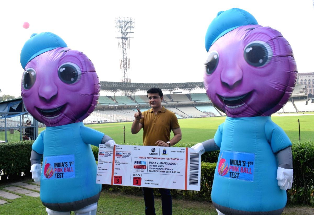 Kolkata: BCCI president Sourav Ganguly displays the ticket of first Day-Night test match between India and Bangladesh at Eden Gardens in Kolkata on Nov. 17, 2019.