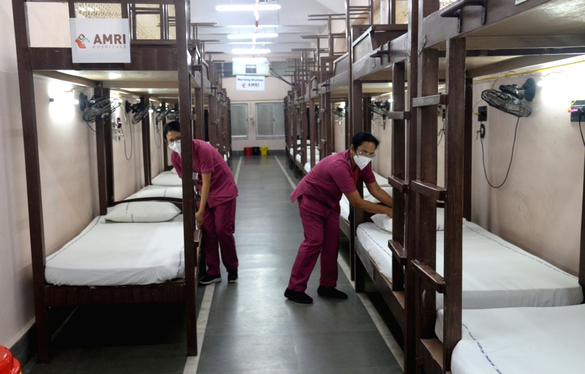 Kolkata: Beds, nurses, medical equipment and other facilities for Covid patients ready inside Salt Lake Stadium converted into COVID19 hospital and increasing numbers of COVID 19 cases in Kolkata on May 7, 2021.  (Photo: Kuntal Chakrabarty/ IANS)