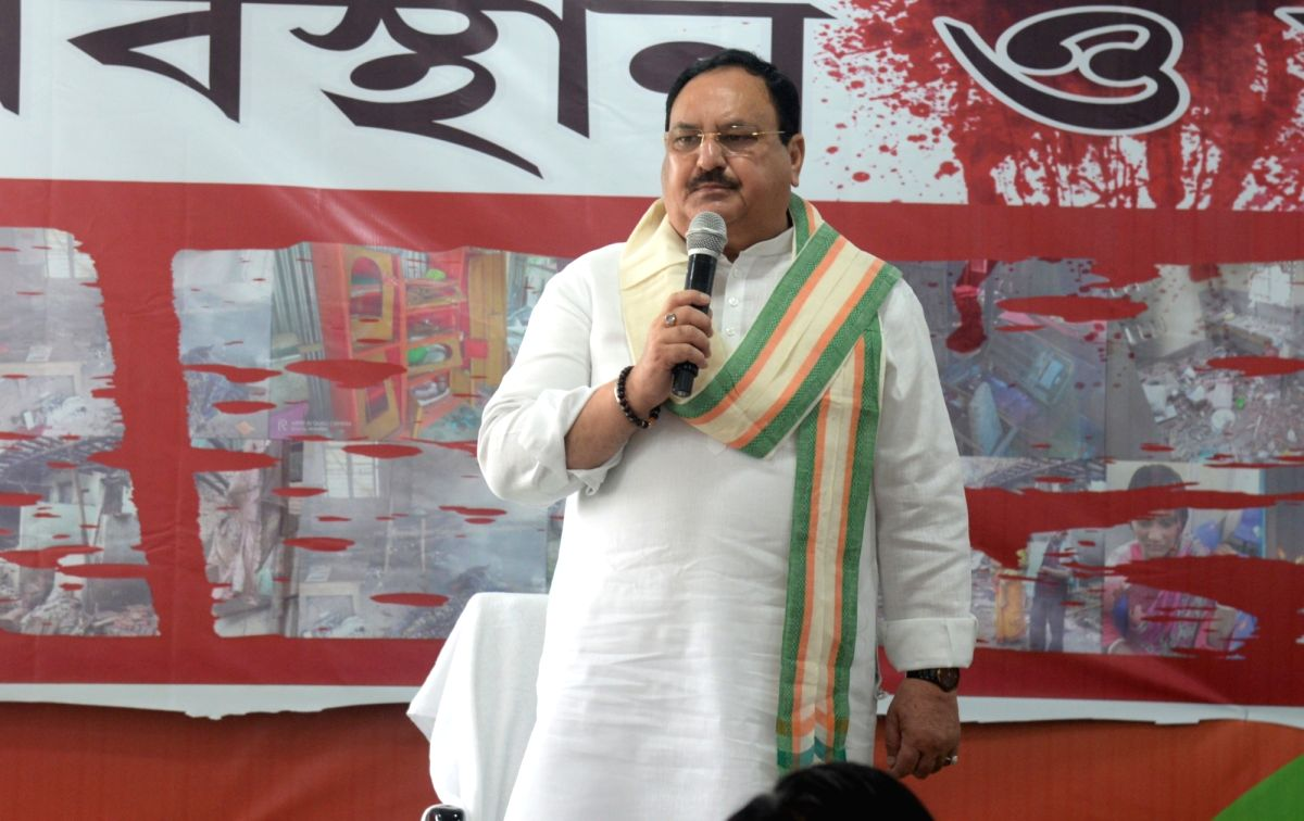 Kolkata: BJP National president J P Nadda along with new elected legislators and leaders during the oath against politics of hate at Hastings elections office in Kolkata on May 5, 2021. (Photo: Kuntal Chakrabarty/IANS)
