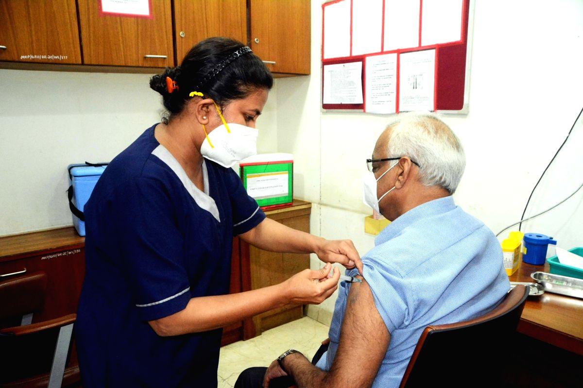 Kolkata: Elderly people take COVID 19 vaccine at a Private Hospital in Kolkata on Monday 01st March 2021 . (Photo: Kuntal  Chakrabarty/IANS)