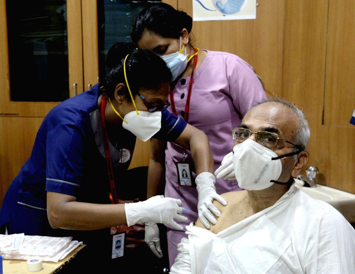 Kolkata: Elderly people take COVID 19 vaccine at AMRI Hospital- Dhakuria in Kolkata on Monday 01st March 2021. (Photo: Kuntal Chakrabarty/IANS)