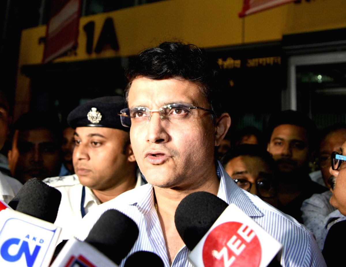 Kolkata: Former India skipper Sourav Ganguly arrives at Netaji Subhas Chandra Bose International Airport (NSCBI) in Kolkata on Oct 15, 2019.