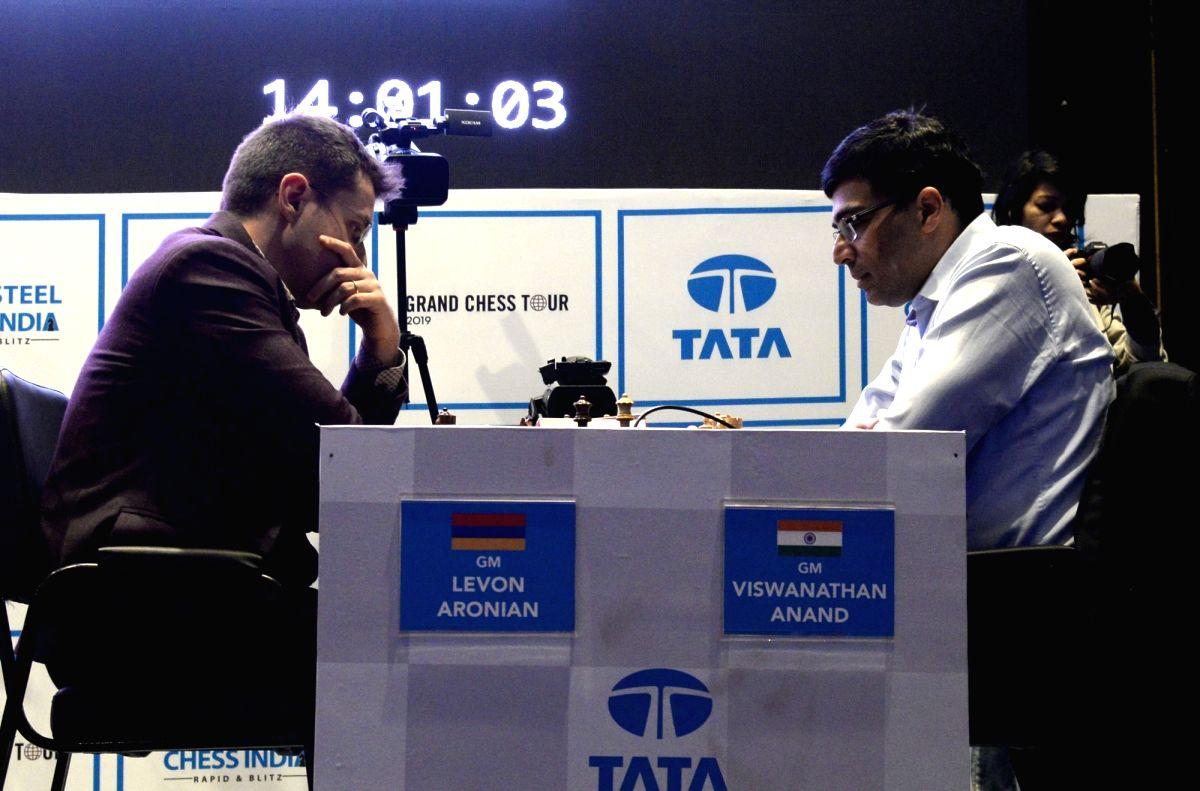 Kolkata: Indian chess Grandmaster Viswanathan Anand and American chess Grandmaster Levon Aronian on the second day of Tata Steel Chess India Rapid and Blitz 2019 in Kolkata on Nov 23, 2019.
