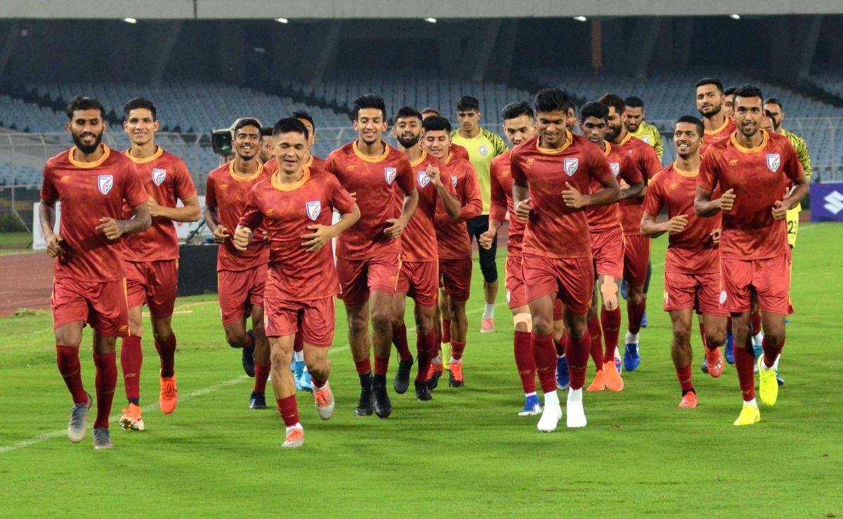 Kolkata: Indian football team players during a practice session ahead of the FIFA World Cup Qatar 2022 Qualifier match against Bangladesh, at the Salt Lake Stadium in Kolkata on Oct 14, 2019. (Photo: Kuntal Chakrabarty/IANS)