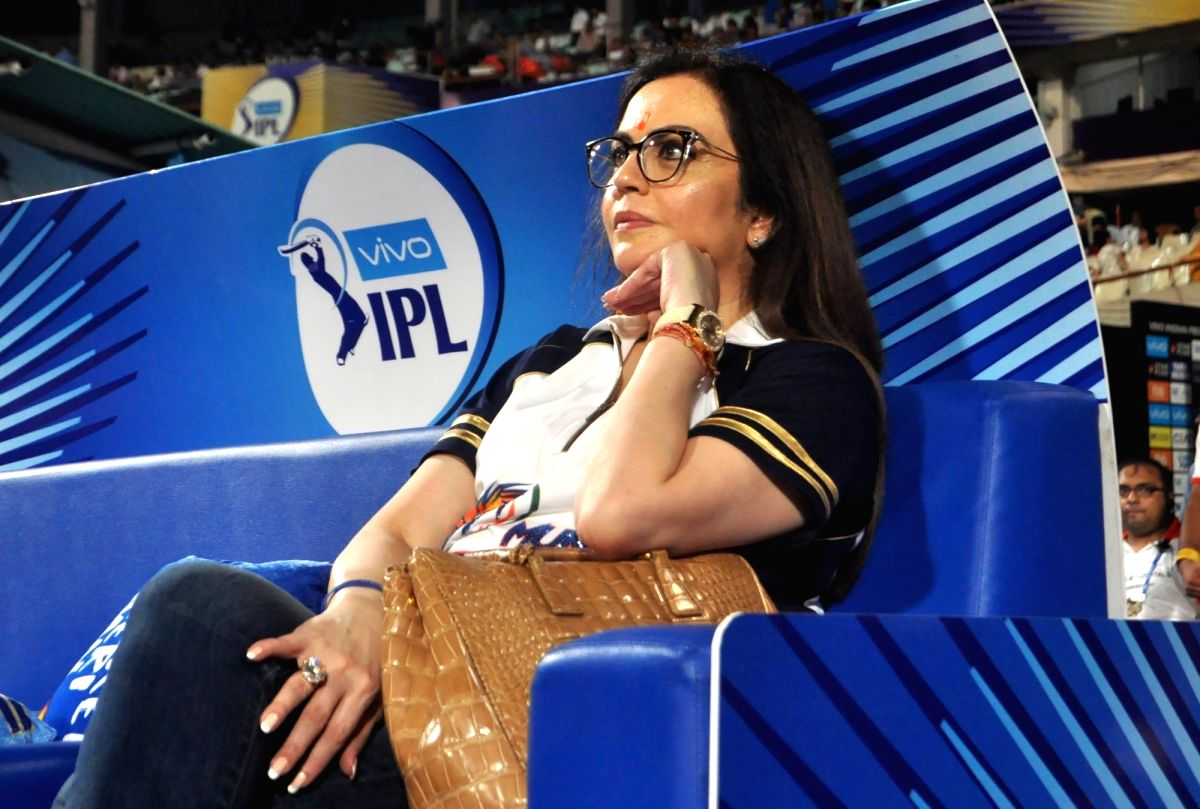 Kolkata: Mumbai Indians co-owner Nita Ambani during an IPL 2018 match between Mumbai Indians and Kolkata Knight Riders at Eden Gardens in Kolkata on May 9, 2018. (Photo: Kuntal Chakrabarty/IANS)